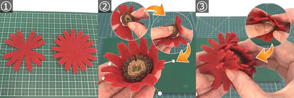 フェルトで手作り♪ガーベラの作り方「花びら」!手順1~3